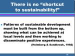 there is no shortcut to sustainability