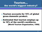 tourism the world s biggest industry