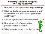 company situation analysis the key questions
