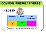 common irregular verbs52