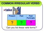 common irregular verbs56
