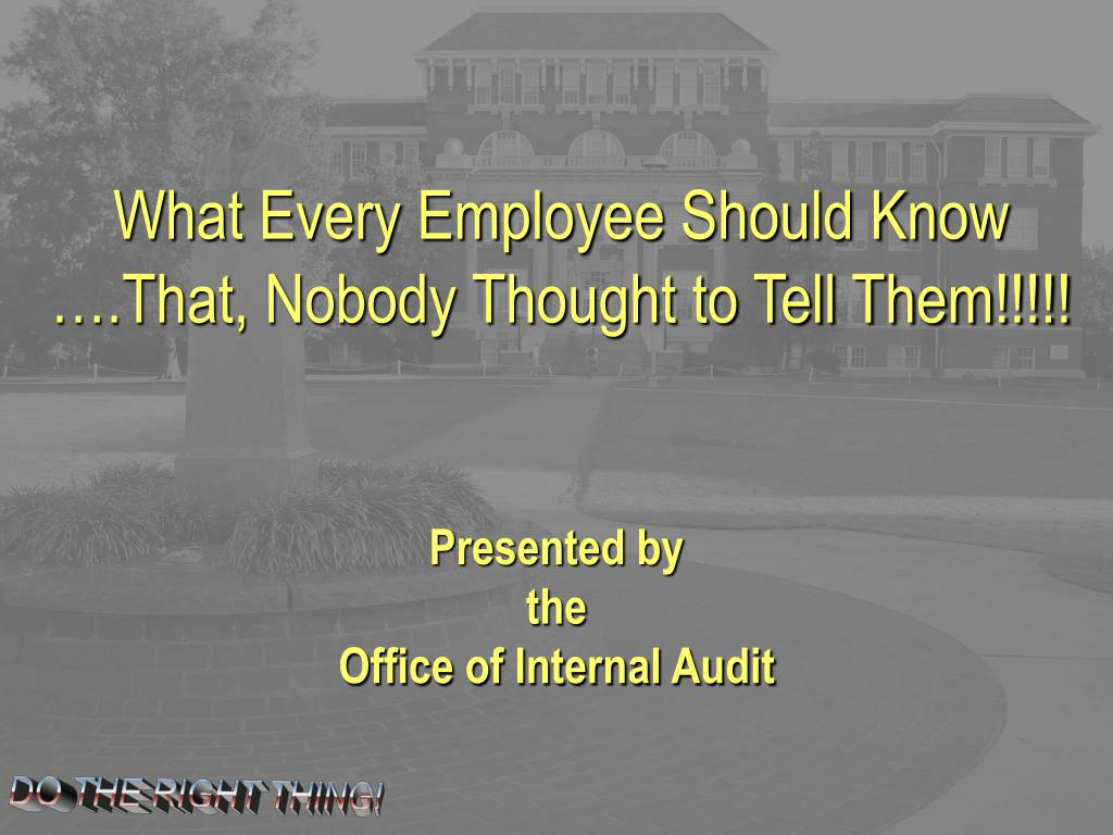 what every employee should know l.
