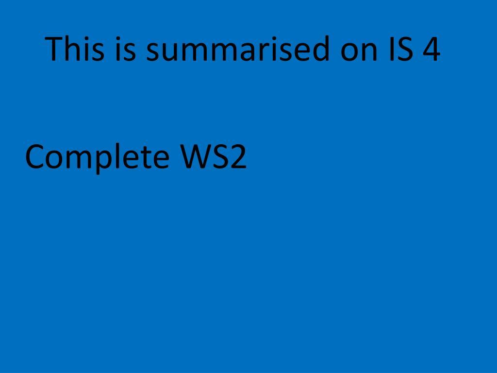 This is summarised on IS 4