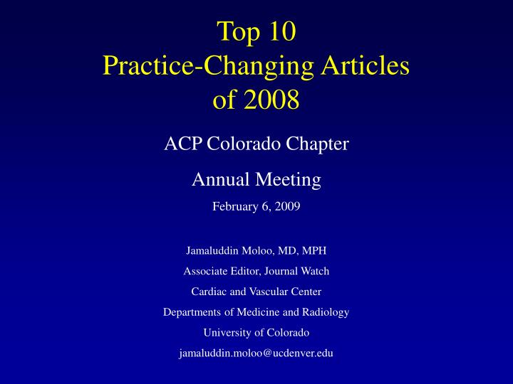 top 10 practice changing articles of 2008 n.