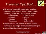 prevention tips don t