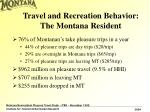 travel and recreation behavior the montana resident