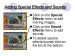 adding special effects and sounds