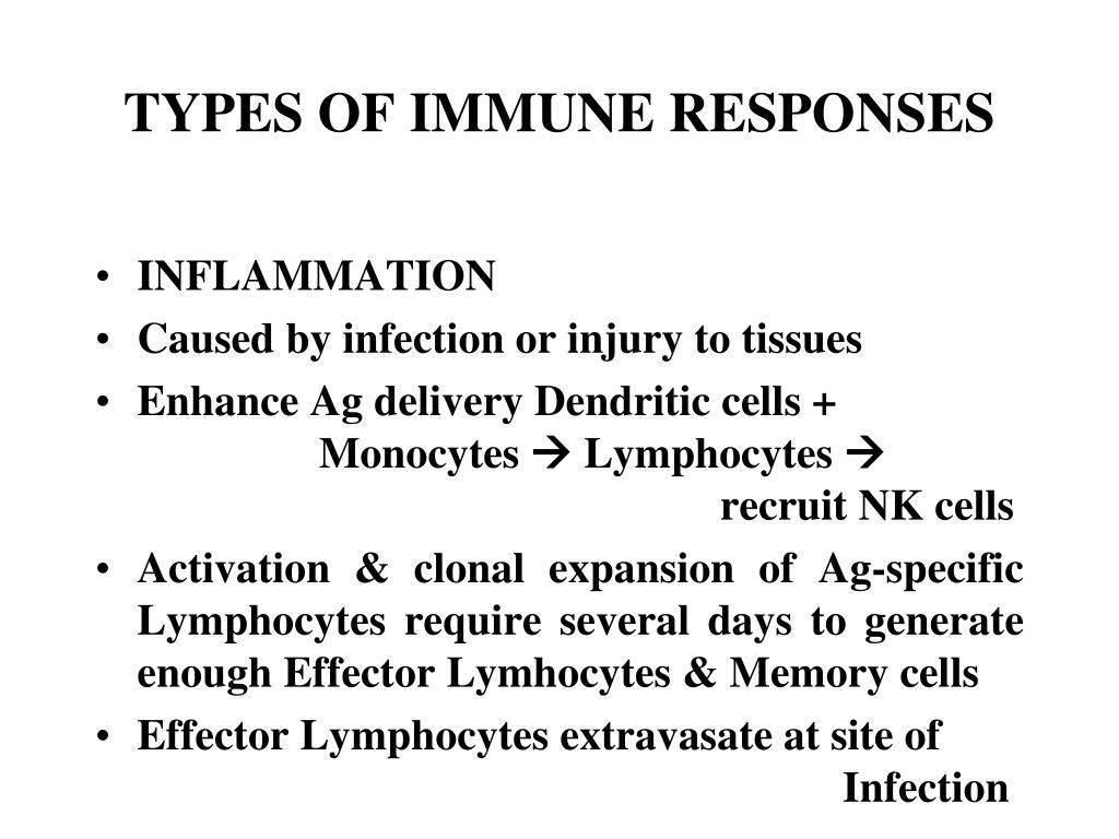 TYPES OF IMMUNE RESPONSES