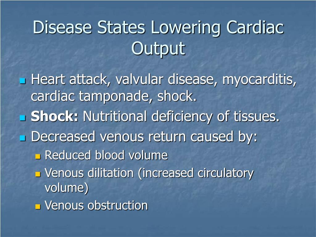 Disease States Lowering Cardiac Output