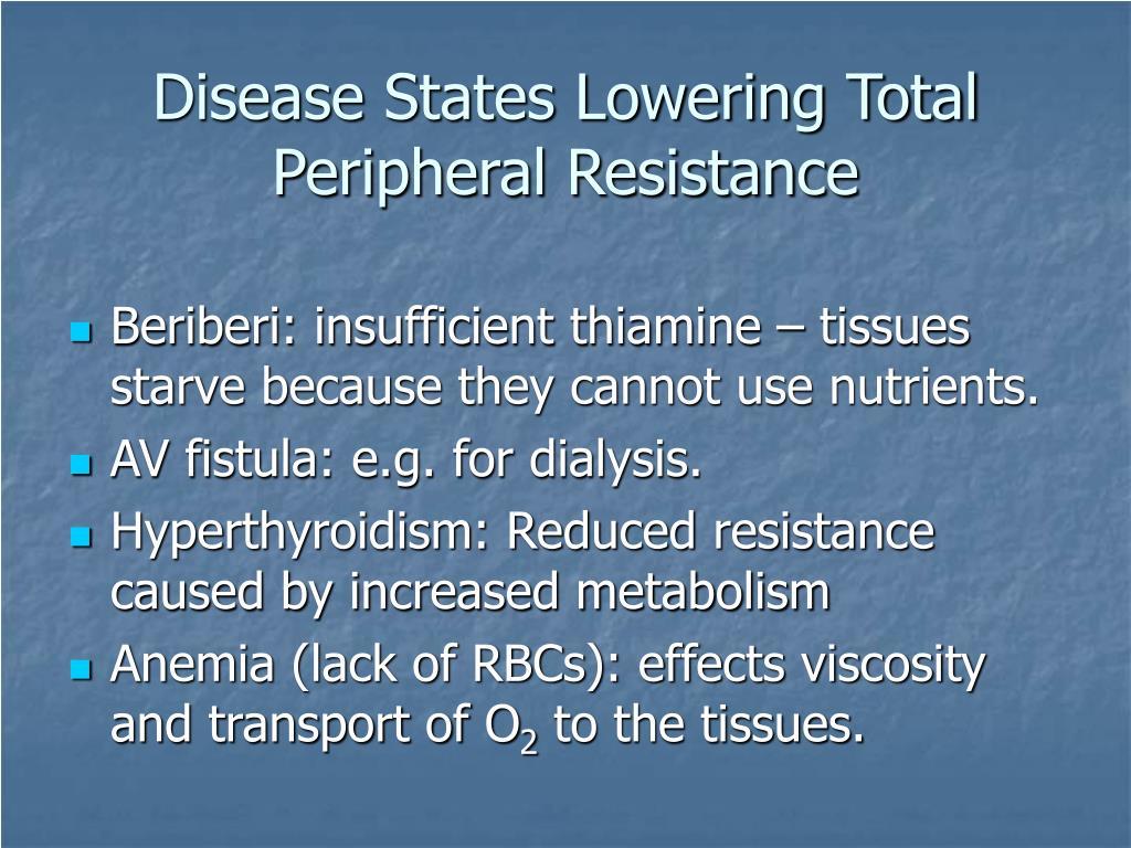 Disease States Lowering Total Peripheral Resistance