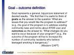 goal outcome definition