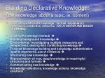 building declarative knowledge the knowledge about a topic ie content