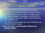 information literacy and victorian essential learning standards