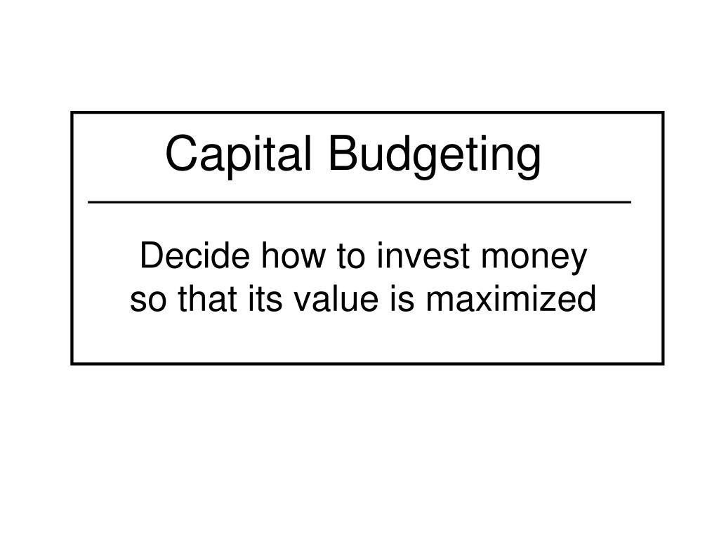 capital budgeting l.