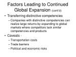 factors leading to continued global expansion cont d