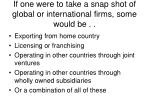 if one were to take a snap shot of global or international firms some would be