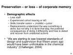 preservation or loss of corporate memory