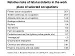 relative risks of fatal accidents in the work place of selected occupations