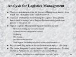 analysis for logistics management