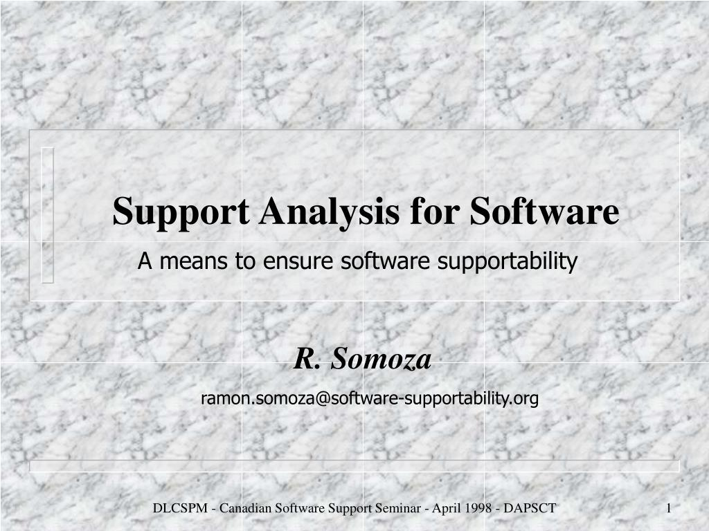 support analysis for software l.