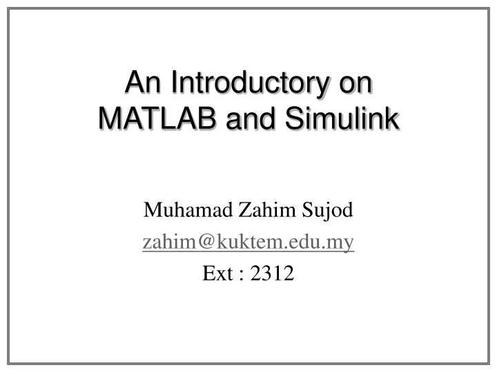 an introductory on matlab and simulink n.
