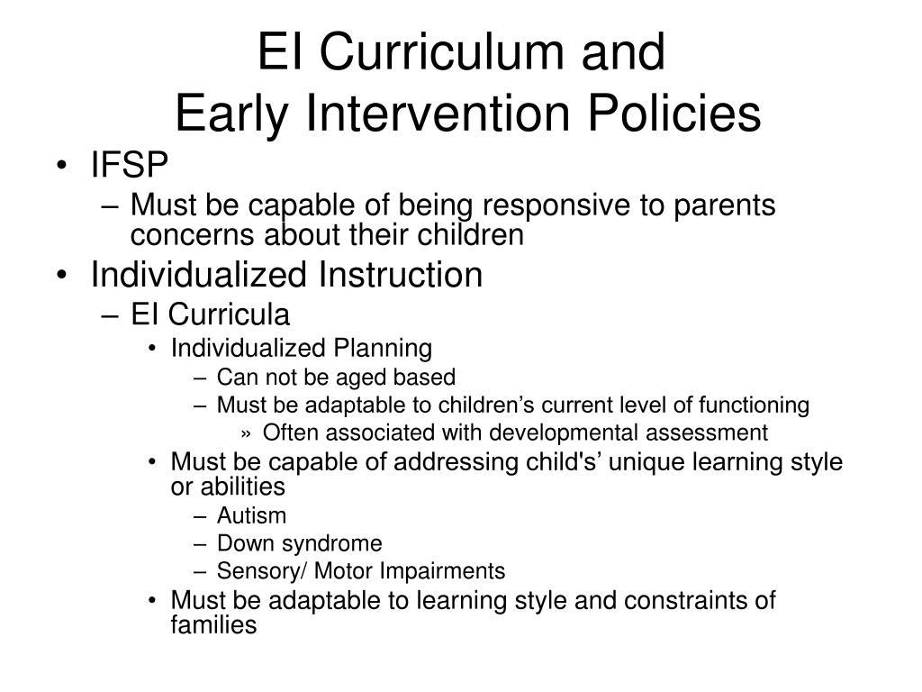 EI Curriculum and