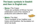 the basic symbols in swahili and then in english are