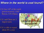 where in the world is coal found