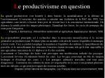 l e productivisme en question