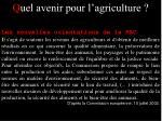q uel avenir pour l agriculture