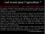 q uel avenir pour l agriculture13