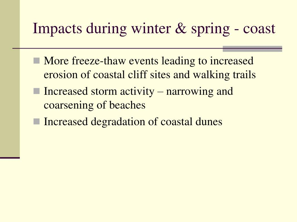 Impacts during winter & spring - coast