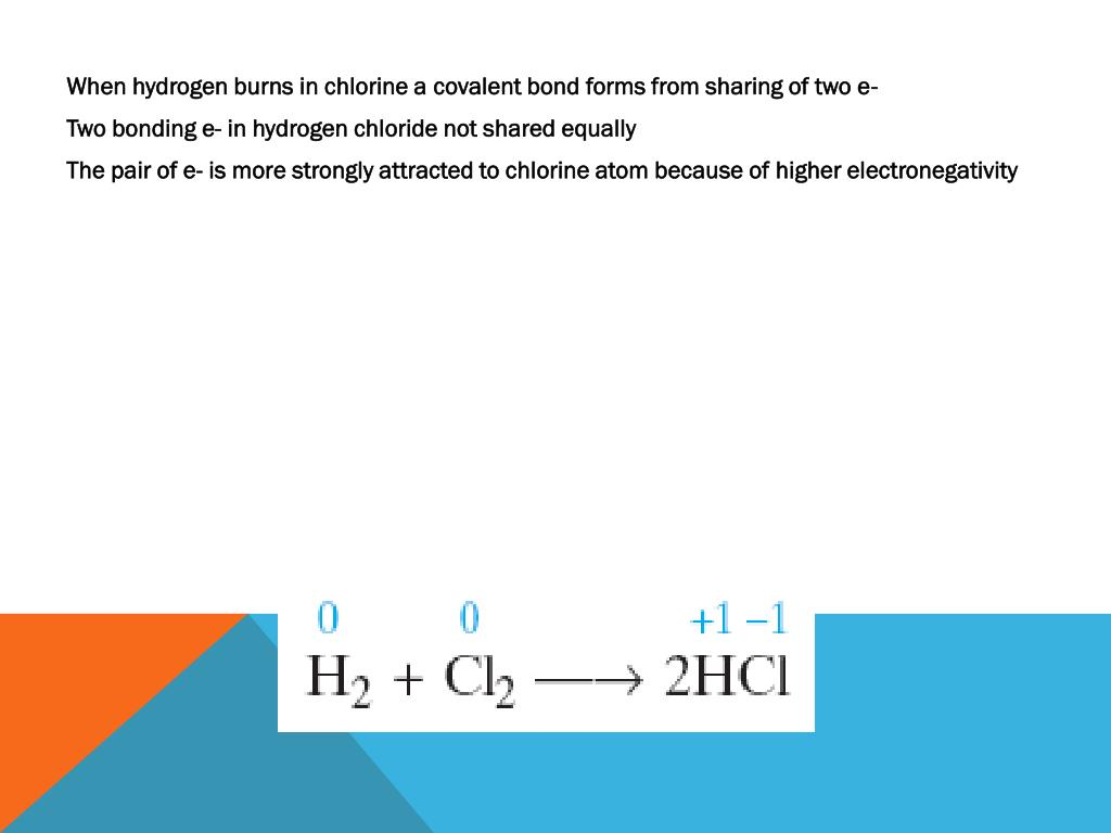 When hydrogen burns in chlorine a covalent bond forms from sharing of two e-