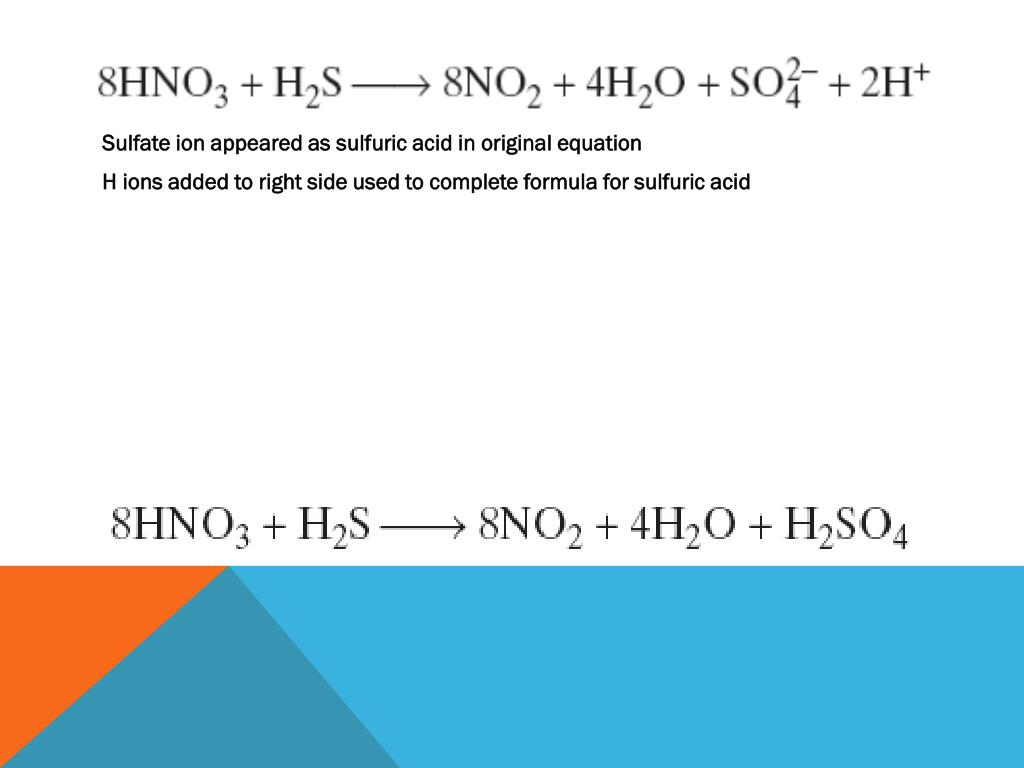 Sulfate ion appeared as sulfuric acid in original equation