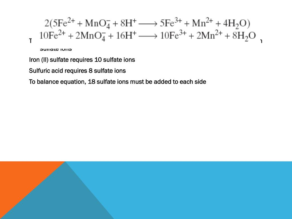 The iron (II), iron (III), manganese (II), and 2 H ions in original equation are paired with sulfate ions