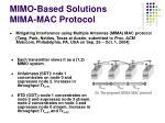 mimo based solutions mima mac protocol