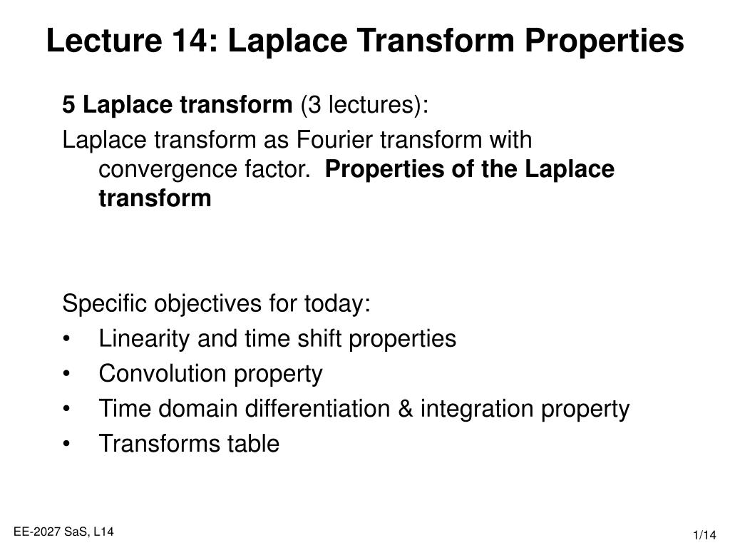 lecture 14 laplace transform properties l.