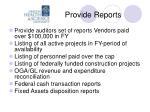 provide reports