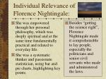 individual relevance of florence nightingale