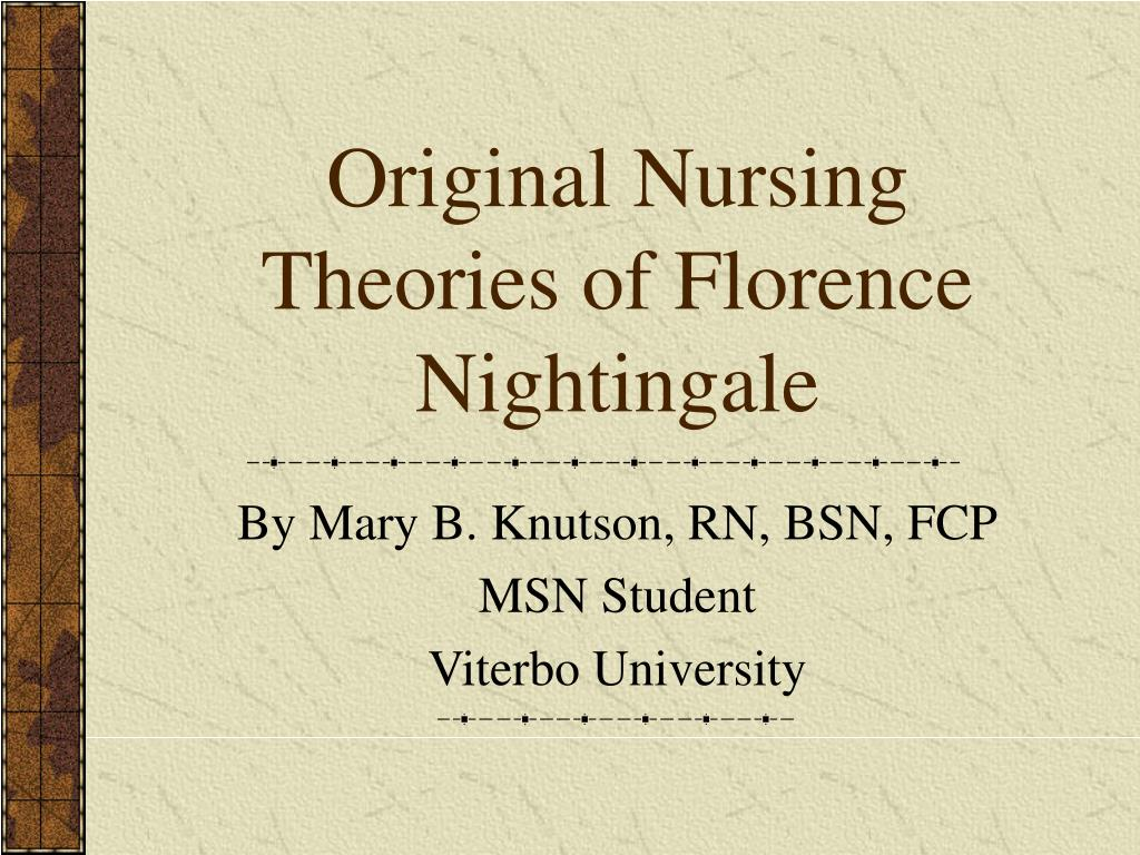 florence nightingale environment theory essay