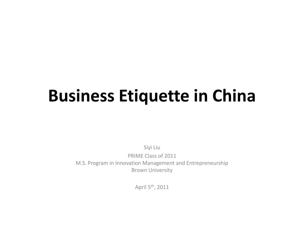 Business Etiquette in China