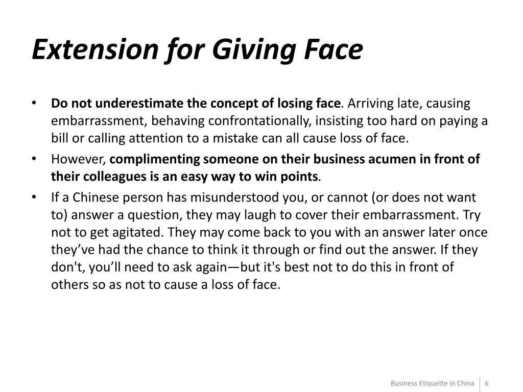 Extension for Giving Face
