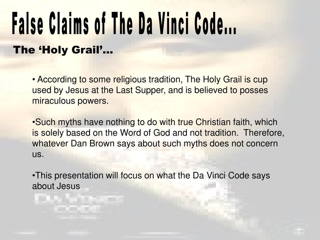 False Claims of The Da Vinci Code...