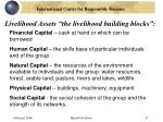 livelihood assets the livelihood building blocks