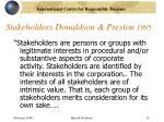 stakeholders donaldson preston 1995