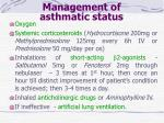 management of asthmatic status