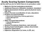 acuity scoring system components all the stuff you do for which there is no procedure code