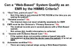 can a web based system qualify as an emr by the himms criteria
