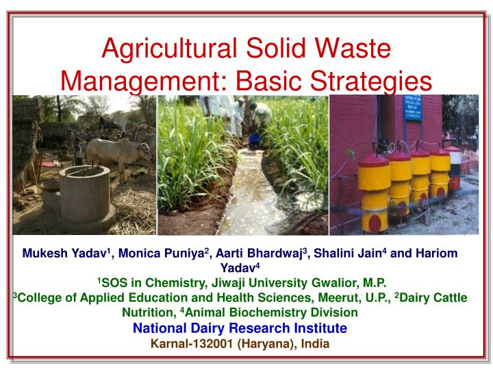 agricultural solid waste management basic strategies n.