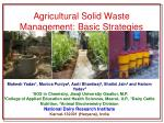 agricultural solid waste management basic strategies